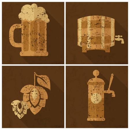 vasos de cerveza: Vidrio de cerveza con cebada y lúpulo conos, conjunto Oktoberfest, ilustración vectorial