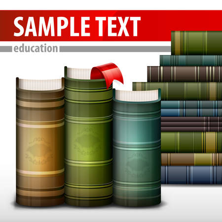 Stack of books with bookmark in library, vector illustration Illustration