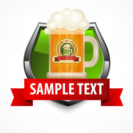 frothy: Green shield with beer in glass mug and red ribbon, vector illustration