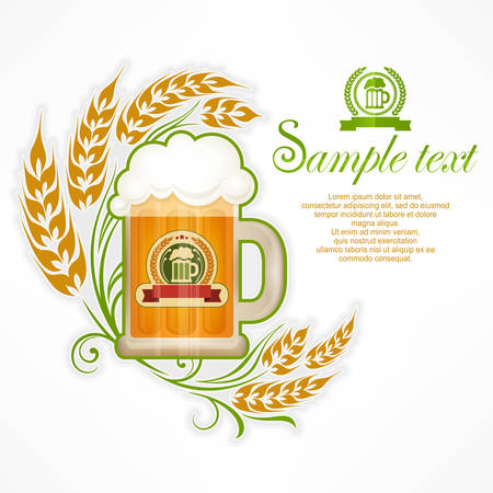 frothy: Light beer in glass mug with wheat ornate, vector illustration