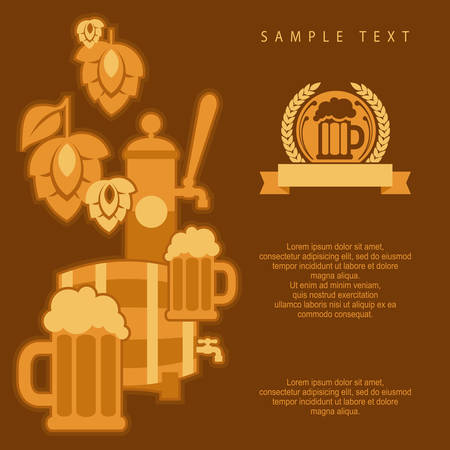 barley hop: Beer glass with barley and hop cones, Oktoberfest banner, vector illustration Illustration