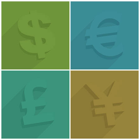 yen note: Set of money symbols with shadow on color, vector illustration Illustration