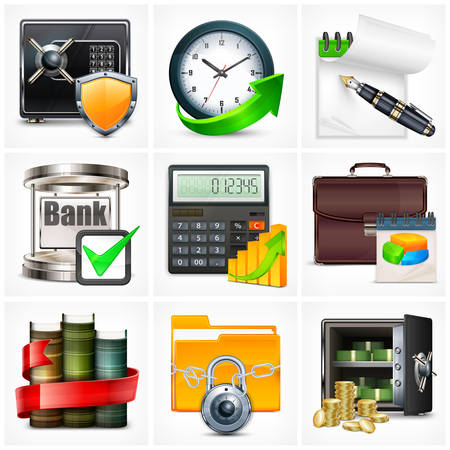 icons set: Set of icons for business info graphic, vector illustration Illustration