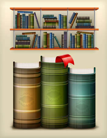athenaeum: Stack of books with bookmark in library, vector illustration Illustration
