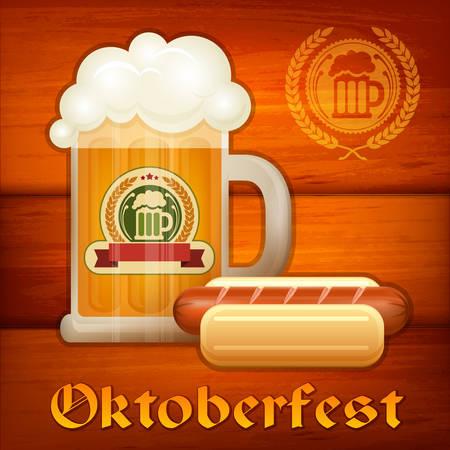 perro caliente: Cerveza ligera en taza de vidrio y salchicha en madera, ilustración vectorial Vectores