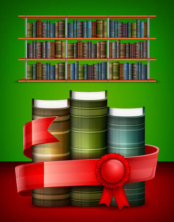 biblioteca: Pila de libros con la cinta roja en la biblioteca, ilustración vectorial
