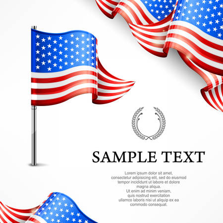 flag pole: American flag & banners with text isolated on white, vector illustration