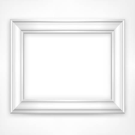 Picture white wooden frame isolated on white, vector illustration Çizim