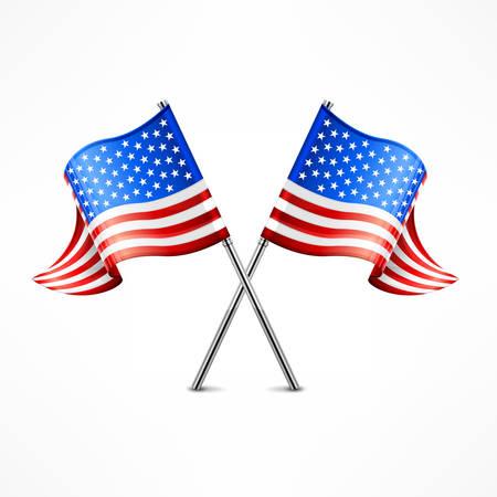 banderas america: Dos cruzados bandera americana aislados en blanco, ilustración vectorial