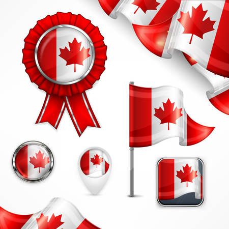 canadian icon: Canadian national symbols, flag, banner, badge and icon on white, vector illustration
