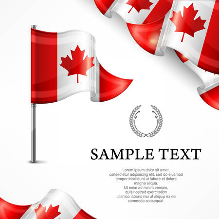 canadian flag: Canadian flag & banners with text isolated on white, vector illustration