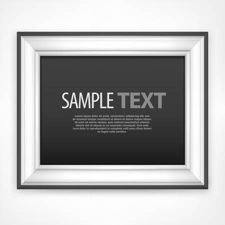 Picture wooden frame with text isolated on white, vector illustration