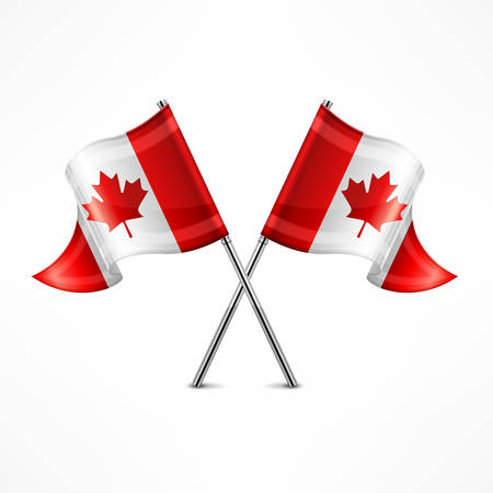 canadian icon: Two crossed Canadian flag isolated on white, vector illustration Illustration