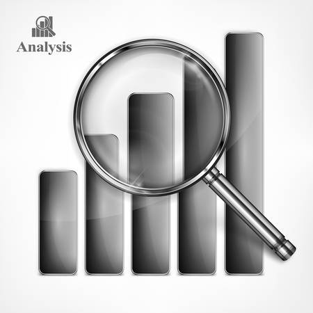 analyzing: Magnifying glass and chart in black, analyzing graphic on white, vector illustration