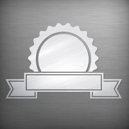 stile: Metallic award sign, vintage stile on grey, vector illustration
