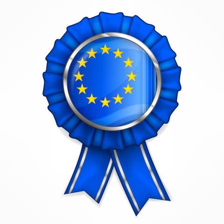 winning first: European award quality badge with ribbon, vector illustration