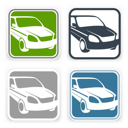 passenger transportation: Square color icons, sign with auto on white, vector illustration Illustration