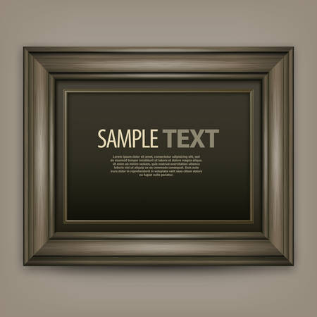 brawn: Picture wooden frame isolated on white, vector illustration