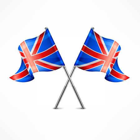 crossed: Two crossed British flag isolated on white, vector illustration Illustration