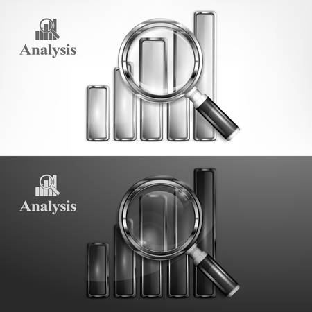 analyzing: Magnifying glass and chart, analyzing graphic on black white, vector illustration