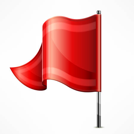 metallic: Red flag on metallic pole isolated on white, vector illustration