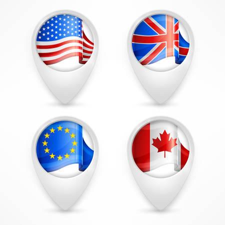 bandera blanca: Punteros de la correspondencia, marcadores GPS con banderas en blanco, ilustraci�n vectorial