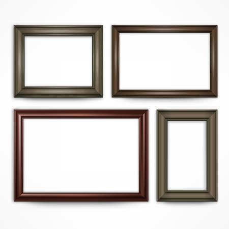 Marcos de cuadros de madera aislado en blanco, ilustración vectorial Foto de archivo - 47868210