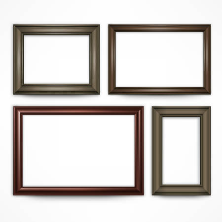 brawn: Picture wooden frames isolated on white, vector illustration