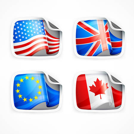 british culture: Four labels with different country flags on white, vector illustration