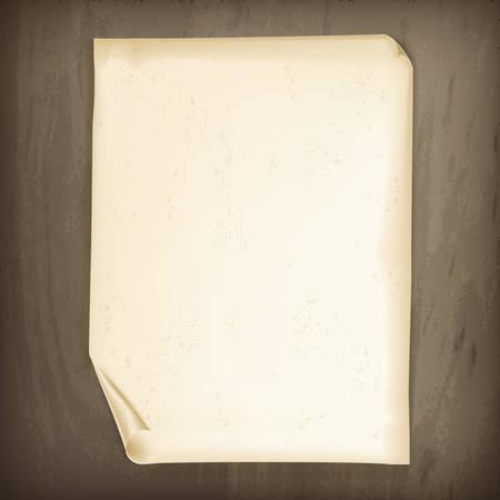 Uitstekend document op houten achtergrond, vector illustratie
