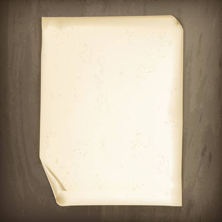 sheet of paper: Vintage paper on wooden background, vector illustration Illustration
