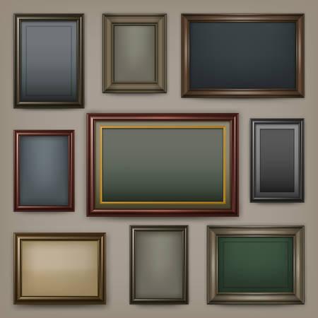 Picture wooden frames on dark background, vector illustration Illustration
