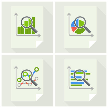 analyzing: Magnifying glass and chart, analyzing graphic on white, vector illustration