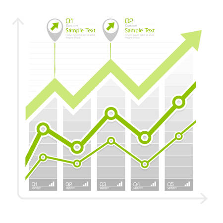 up arrow: Green arrow up diagram, infographic elements on white, vector illustration Illustration