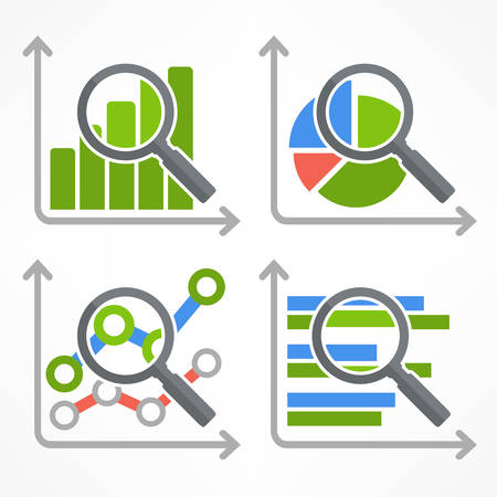 graphic chart: Magnifying glass and chart, analyzing graphic on white, vector illustration