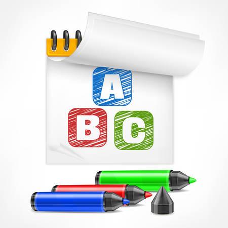 papier lettre: marqueur et lettres couleur symbole dans le bloc-notes, illustration vectorielle Illustration