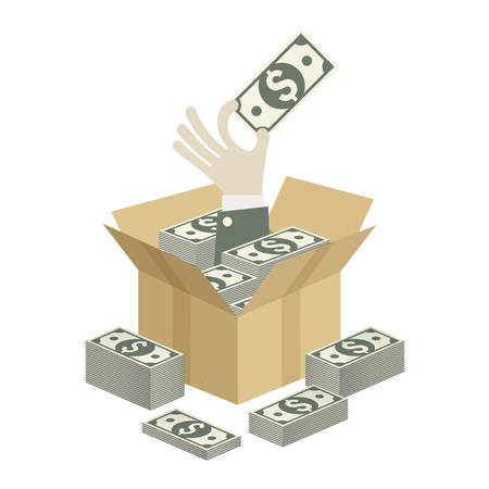 paper currency: Cardboard open box and hand with money, vector illustration