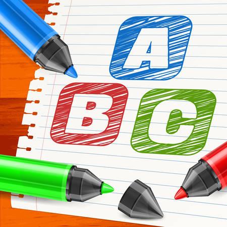 papier a lettre: marqueur et lettres couleur symbole sur la feuille de papier, illustration vectorielle