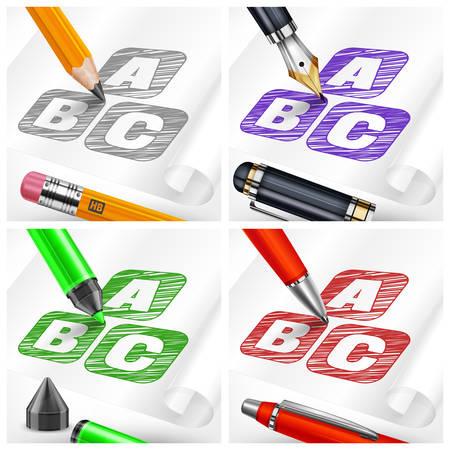 papier a lettre: Main dessiner des lettres d'esquisse sur une feuille de papier et des stylos aimables, illustration vectorielle