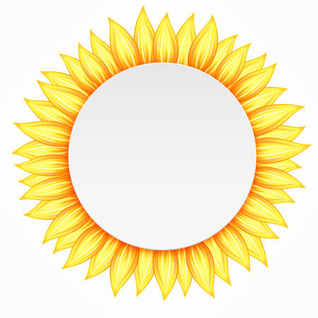 recycling symbols: Round icon with yellow flower petal on white, vector illustration Illustration