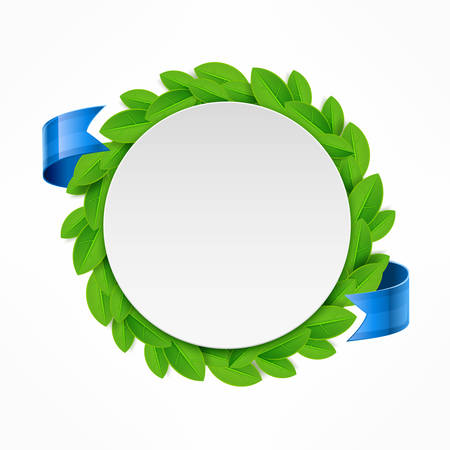 recycling symbols: Round icon with green leaves and blue ribbon, vector illustration Illustration