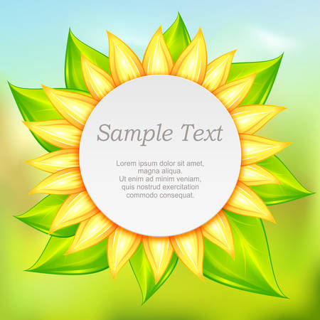 the petal: Round icon with yellow flower petal, illustration Illustration