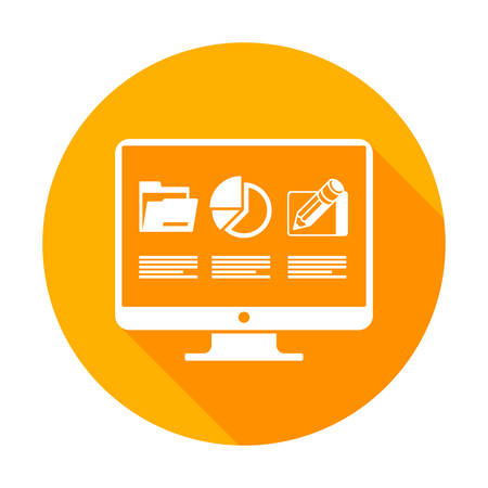 monitor screen: Infographic round flat elements on monitor screen in yellow