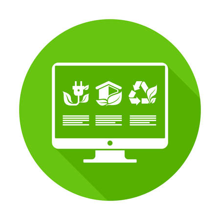 monitor screen: Infographic round flat elements on monitor screen in green Illustration