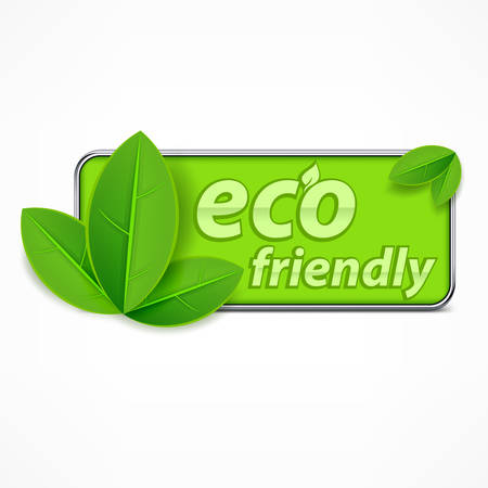 green environment: Eco friendly label, leaves and text Illustration