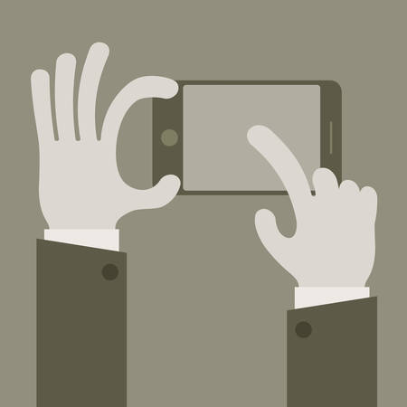 touch screen hand: Touch mobile screen in hand concept in grey, vector illustration Illustration