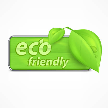 green environment: Eco friendly label, leaves and text, vector illustration Illustration