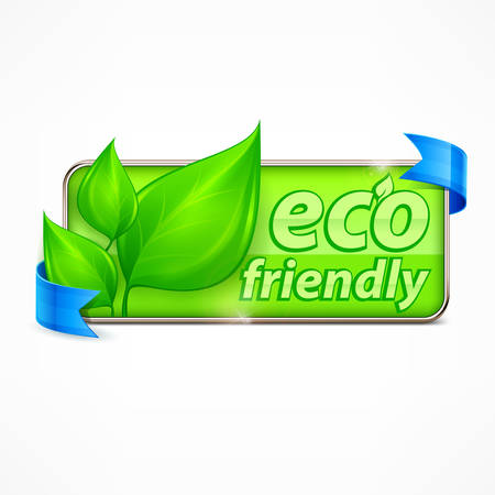 environment icon: Eco friendly label, leaves and text, vector illustration Illustration