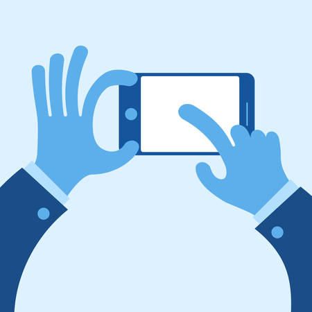 touch screen hand: Touch mobile screen in hand concept in blue, vector illustration