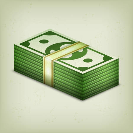 stack of cash: Pile of money stack, cash dollar on grey, vector illustration Illustration